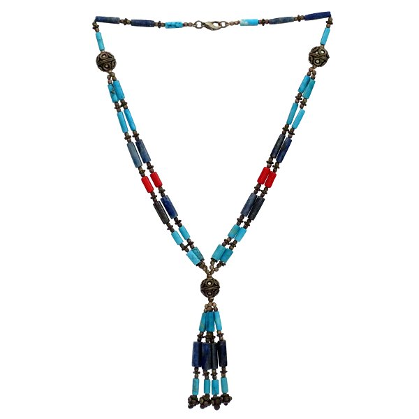 Necklace (lapis lazuli, turqouise and coral)
