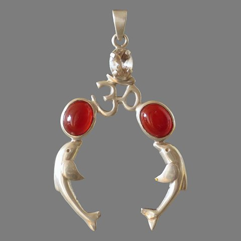 Pendant Dolphins and Aum (silver, carnelian and iolite)