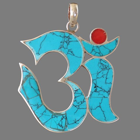 Pendant Aum (silver, turquoise and coral)