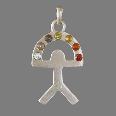 Pendant 7 Chakra juggler (silver and 7 semi-precious gemstones)
