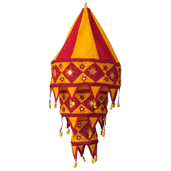 Lamp shade large, ochre yellow / red-brown