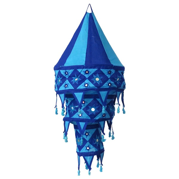 Lamp shade large, turquoise / dark blue