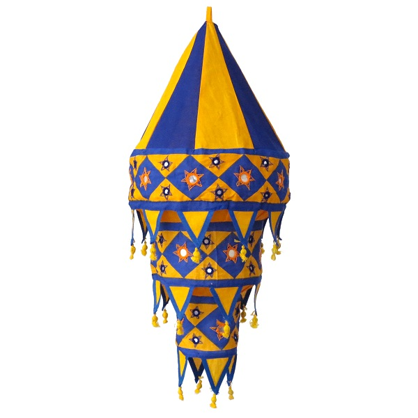 Lamp shade large, yellow / dark blue