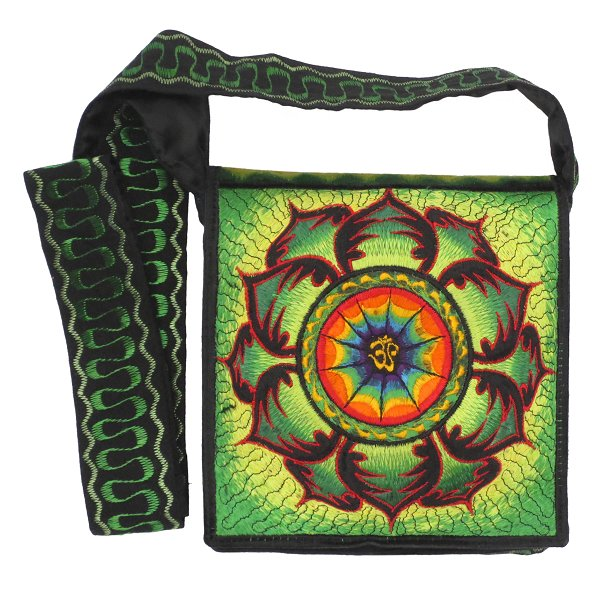 Embroidery shoulder bag, Aum in Lotus (green)