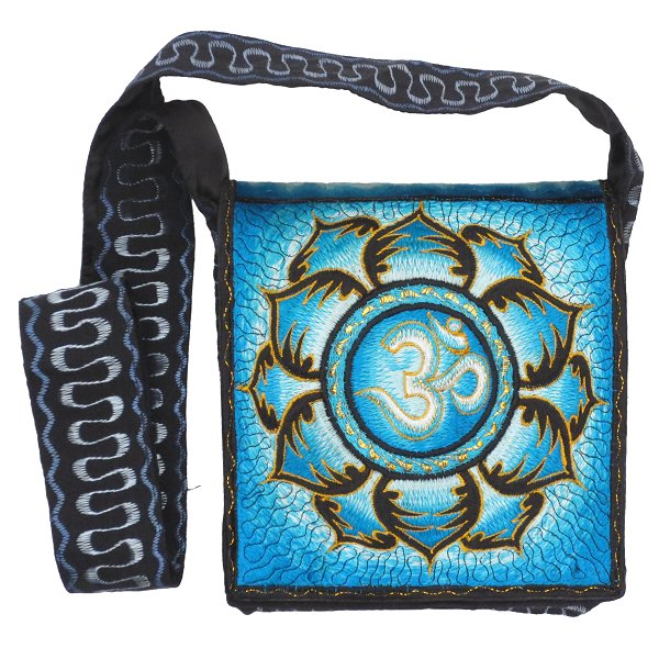 Embroidery shoulder bag, Aum in Lotus (turquoise blue)