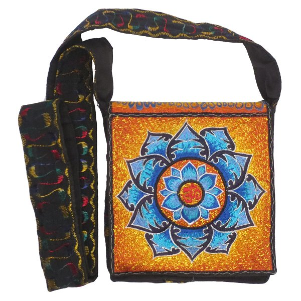 Embroidery shoulder bag, Aum in Lotus (blue and orange/gold)