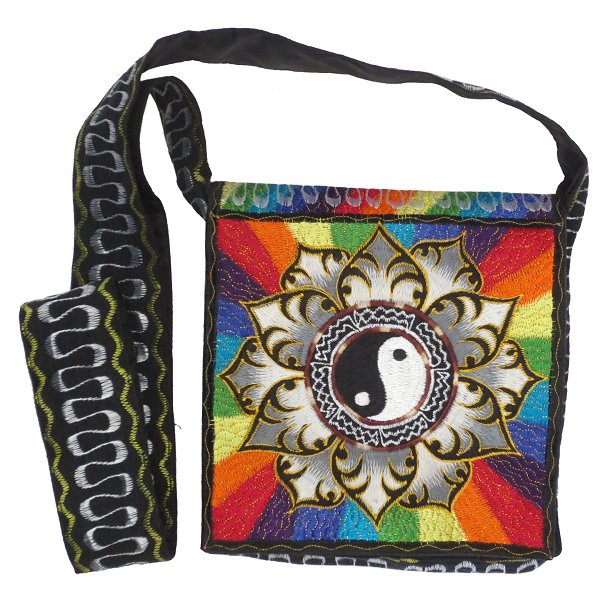 Embroidery shoulder bag, Yin-Yang in Lotus (black/white and rainbow)