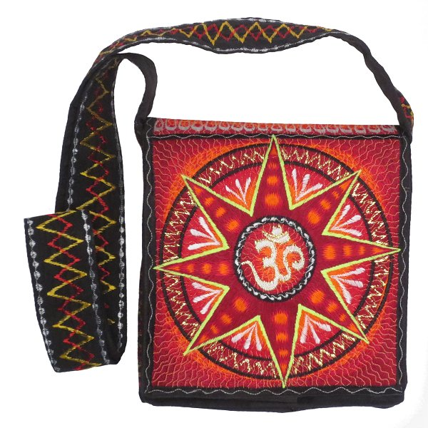 Embroidery shoulder bag, Aum in star (red)