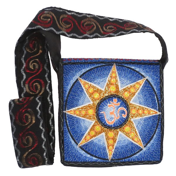 Embroidery shoulder bag, Aum in star (blue and orange/gold)