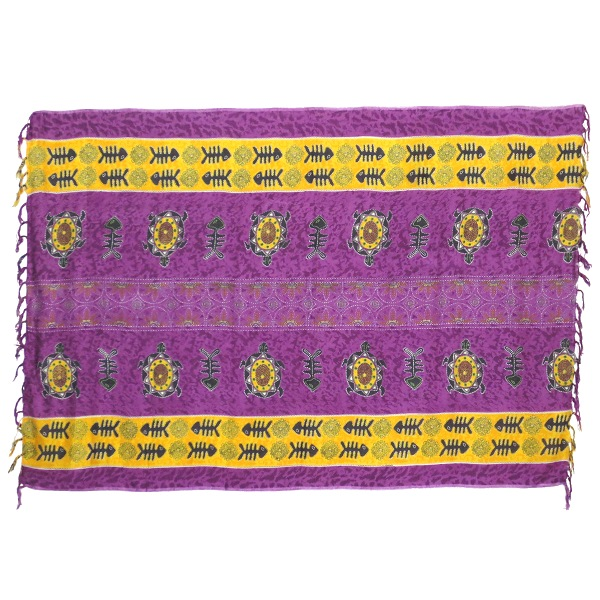 Sarong modern, purple / yellow ochre