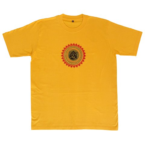 T-shirt with Ganesha print, yellow