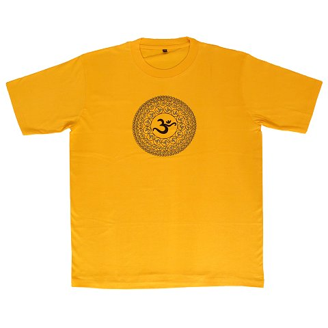 T-shirt with Aum print, yellow