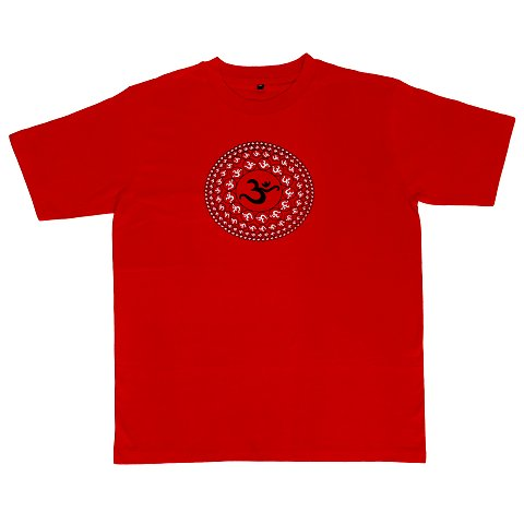 T-shirt with Aum print, red