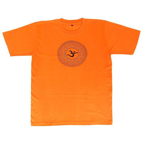 T-shirt with Aum print, orange