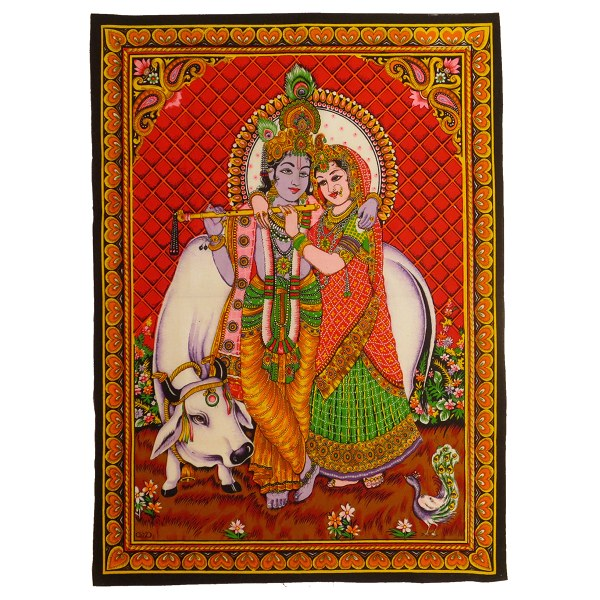 Tapestry Radha and Krishna (red, without disks)
